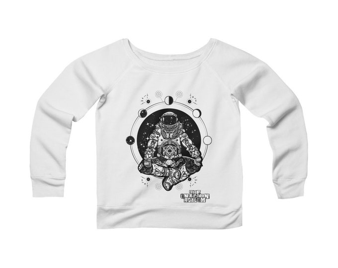Cosmic Astronaut of The Multi-Verse- Wide Neck Off the Shoulder Sweatshirt