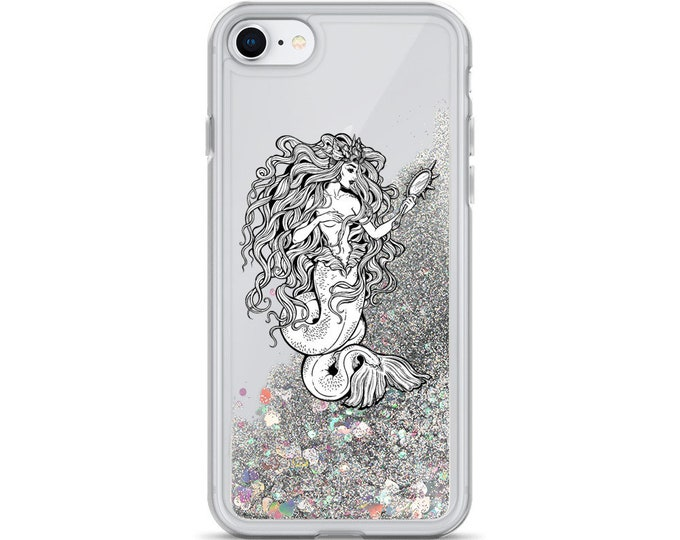 Mermaid Goddess Liquid Glitter iPhone Cases ( Choice of Pink, Silver or Gold Glitter )