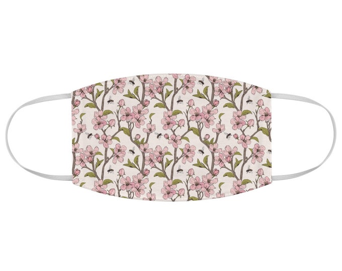 Cherry Blossom Honey Bee Fabric Face Mask Floral