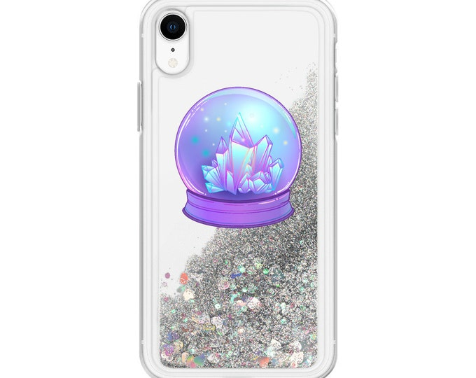 Pastel Goth Crystal Ball Liquid Glitter iPhone Cases ( Choice of Pink, Silver or Gold Glitter )