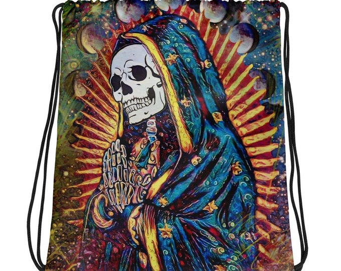Santa Muerte- Drawstring Backpack