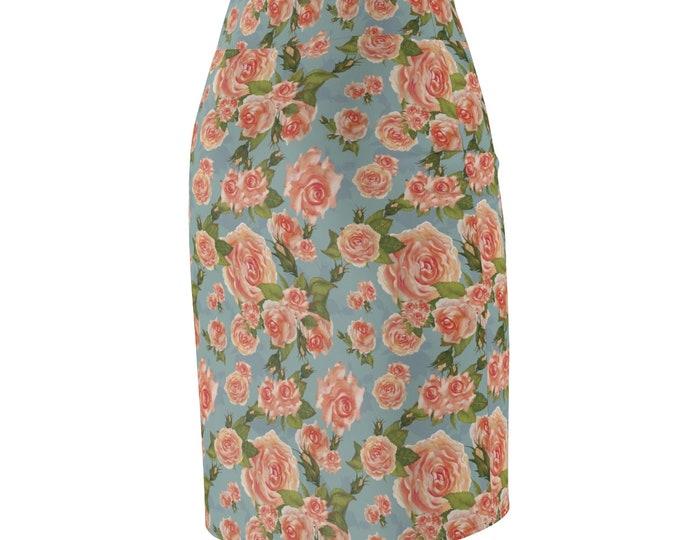 Antique Rose Designer Pencil Skirt