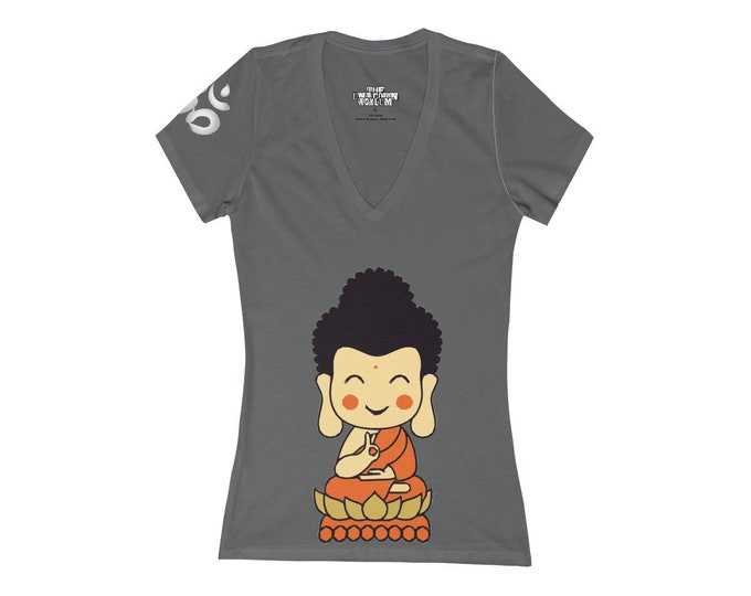 Cute Buddha Deep V-Neck Yoga Tee