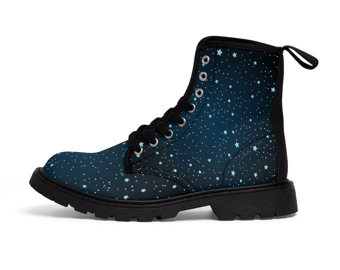 Cosmic Sky- Vegan Canvas Combat Boots