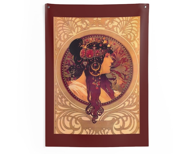 Donna By Alphonse Mucha Wall Tapestry
