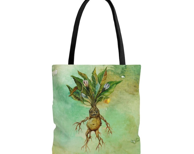 Adorable Watercolor Mandrake Reusable Tote Bag Plant Witch Green Witch Alchemy Botanical  Illustrated Bag, Book bag, Shopping Bag,