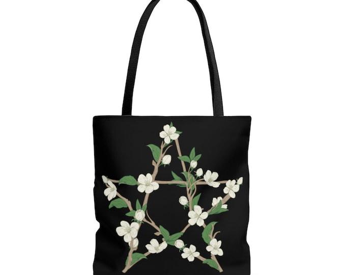 Floral Pentagram Tote Bag