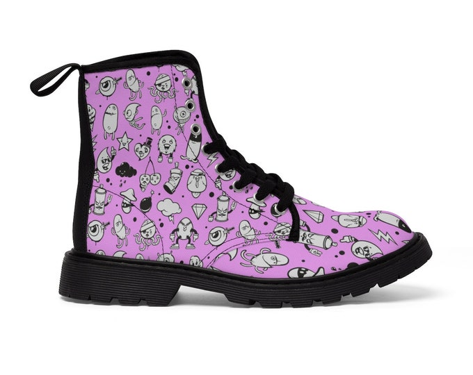 Adorable Graffiti Characters Debauchery Vegan Combat Boots - Purple