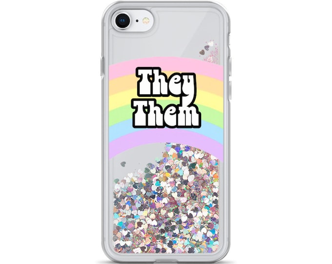 They / Them Pronoun Pastel Rainbow Liquid Glitter Phone Case  ( Choice of Pink, Silver or Gold Glitter )