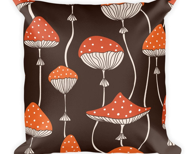 Forest Mushrooms Decor Pillow