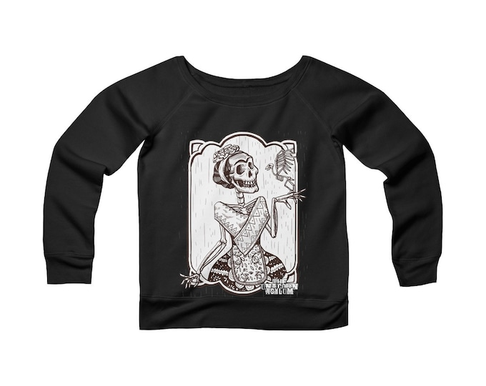 Frida Death Garden- Wide Neck -Off The Shoulder- Sweatshirt