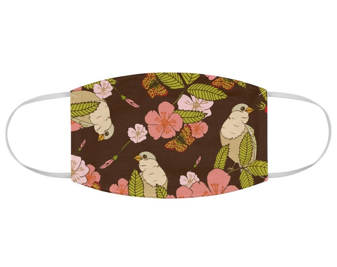 Bird Floral Pattern Fabric Face Mask