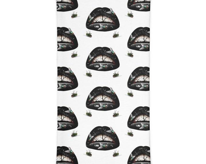 Kiss Of Death Neck Gaiter  Versatile Face Mask, Scarf, Head Band, Neck Warmer, Bandana, Wrist Band