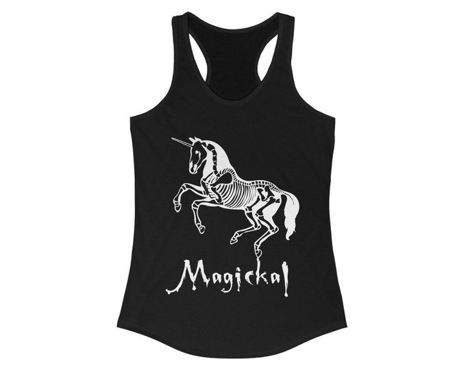 Magickal Skeleton Unicorn Racerback Tank, Goth Princess, Slim Fit Graphic Tees, Workout tanks, Yoga tanks, Tank Tops, Fitted,