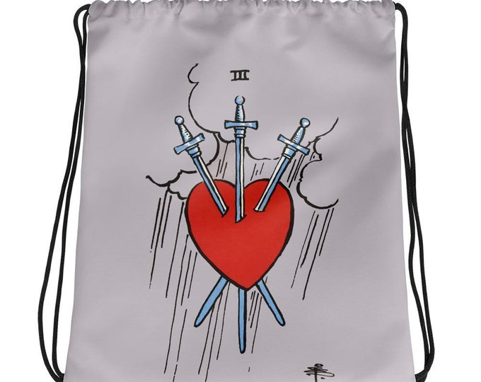 3 of Swords- Drawstring Backpack