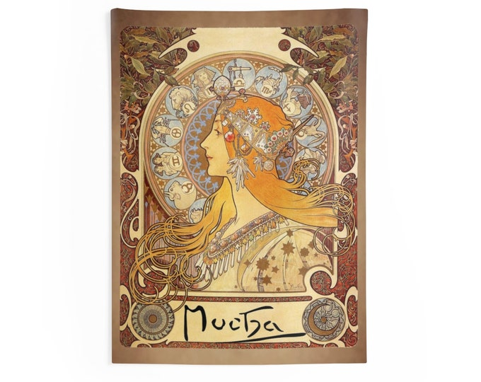 Zodiac By Alphonse Mucha Wall Tapestry