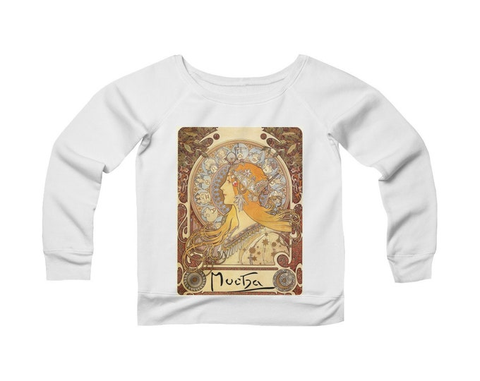 Zodiac By Alphonse Mucha -Fleece Wide Neck Sweatshirt