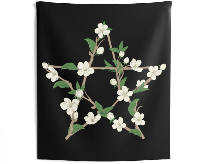 Floral Pentagram Wall Tapestries, Pagan, witch altar tools, Wiccan, Wicca, As above so below, Magick, Wall Hanging