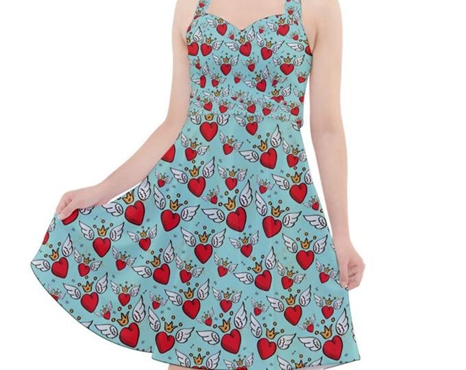 Kingdom Of Hearts- Rockabilly Halter Dress