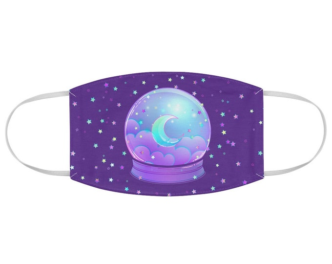 Pastel Goth Celestial Crystal Ball Fabric Face Mask in Purple