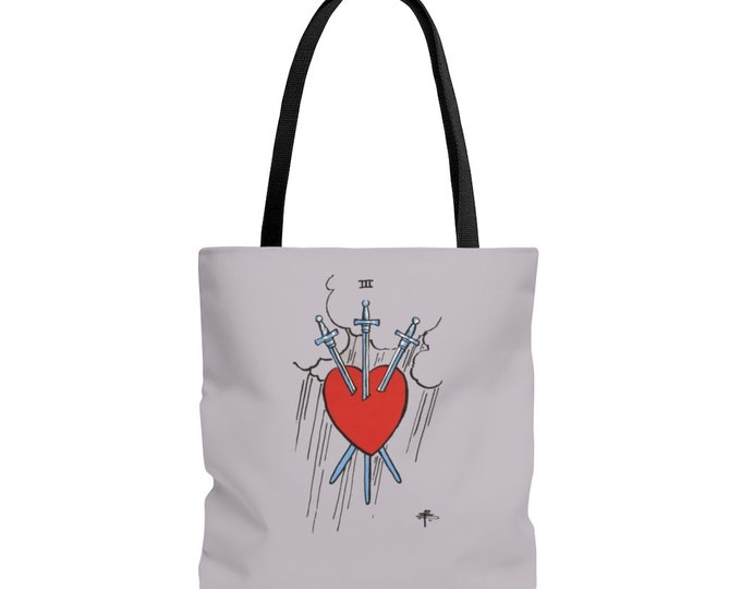 3 of Swords Reusable Tote Bag Tarot Divination  Illustrated Bag, Book bag, Shopping Bag, Grocery Bag, Everyday Bag, Carry All,