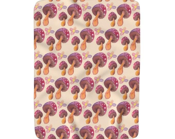 Mushroom Pattern Sherpa Fleece Blanket