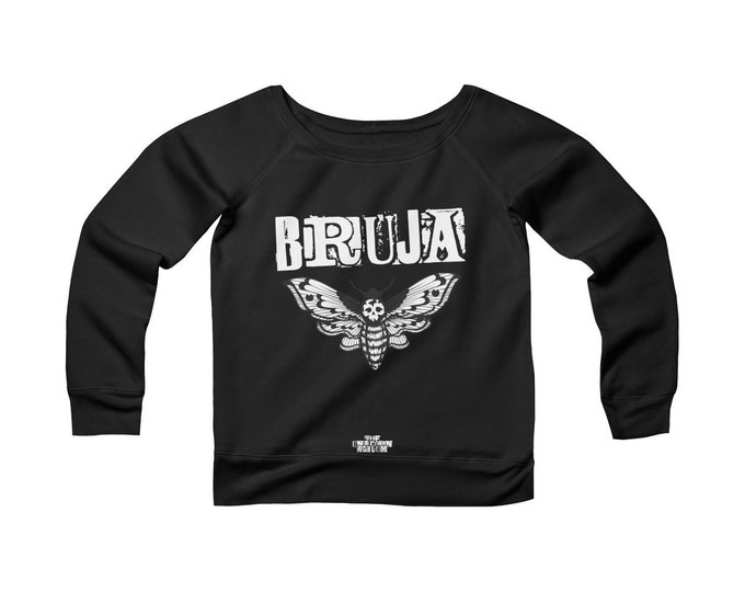 Bruja- Death Hawk Moth-  Wide Neck Off the Shoulder Sweatshirt