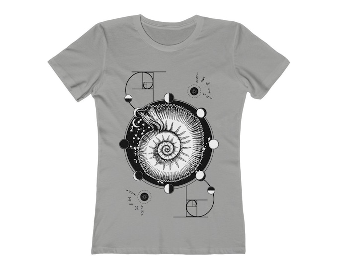 Fibonacci -Golden Ratio -Nautilus- Sacred Geometry Fitted Tee