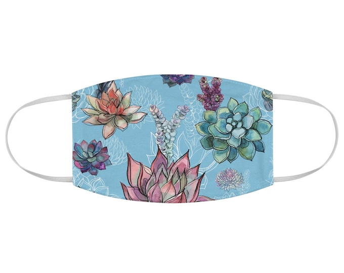 Water Color Succulents Fabric Face Mask Light Blue