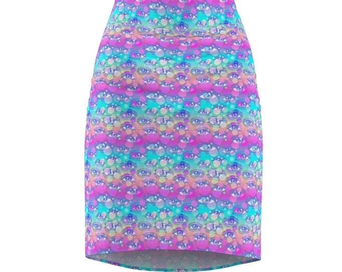 Third Eye Pastel Rainbow Pencil Skirt