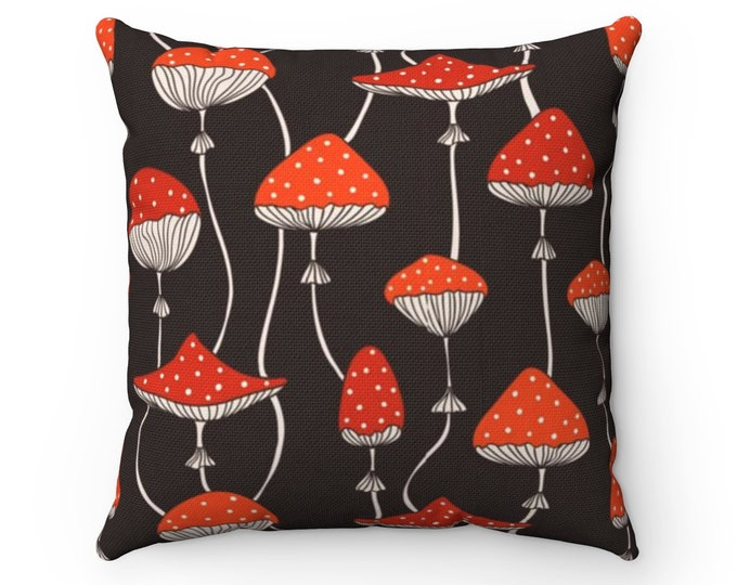 Mushroom Polyester Square Pillow