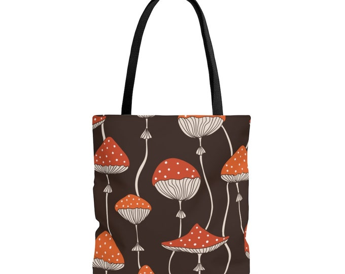 Toadstool Fly Agaric Amanita Muscaria Magic Mushroom Reusable Tote Bag, Book bag, Shopping Bag, Grocery Bag, Everyday Bag, Carry All,