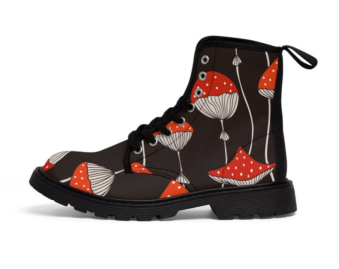 Magic Mushroom Vegan Combat Boots