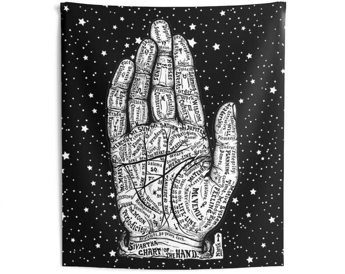 Palmistry Wall Tapestries, Divination Tools, witch altar tools, Palmistry guide, palmistry reading, Wall Hanging, chiromancy tool