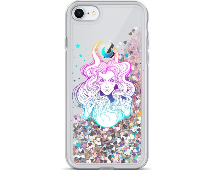 The High Priestess Liquid Glitter iPhone Cases ( Choice of Pink, Silver or Gold Glitter ) Moon Child, Pastel Goth