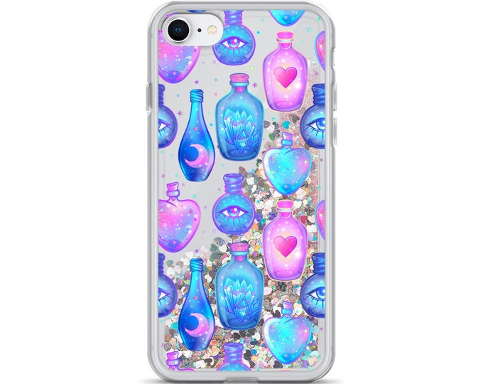 Pastel Goth Potion Bottles Liquid Glitter iPhone Cases ( Choice of Pink or Silver Glitter )