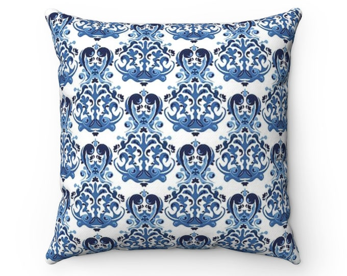 Delft Blue Polyester Square Pillow