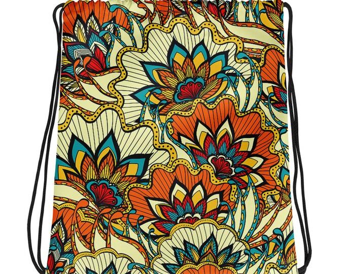 Vintage Print Drawstring bag