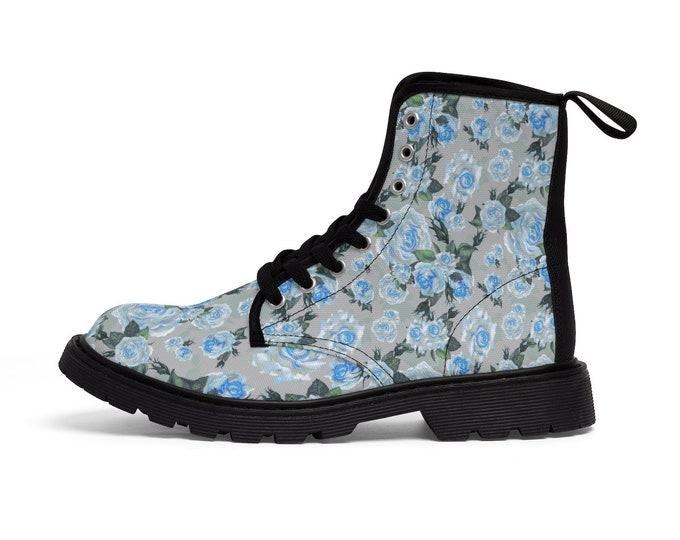 Slate Rose Vegan Canvas Combat Boots