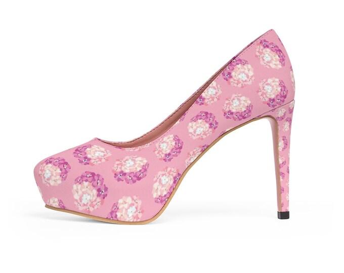 Pink Hydrangea Platform Vegan Heels