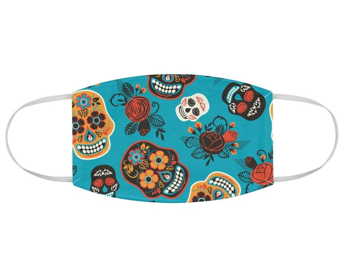 Turquoise Dia de Los Muertos Fabric Face Mask Day of the Dead