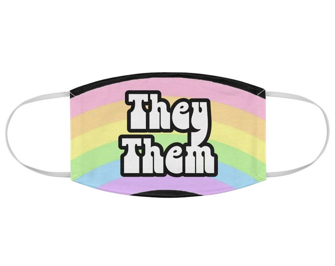 Pronoun Fabric Face Mask They / Them Pastel Rainbow