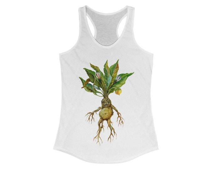 Mandrake Racerback Tank, Botanical Alchemy, Plant Witch, Slim Fit Graphic Tees, Workout tanks, Yoga tanks, Tank Tops, Fitted,