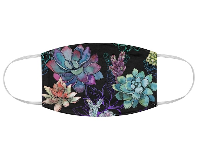 Watercolor Succulents Fabric Face Mask