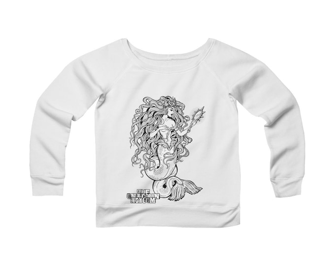 Mermaid Goddess Art By Katja Gerasimova-  Wide Neck -Off The Shoulder- Sweatshirt