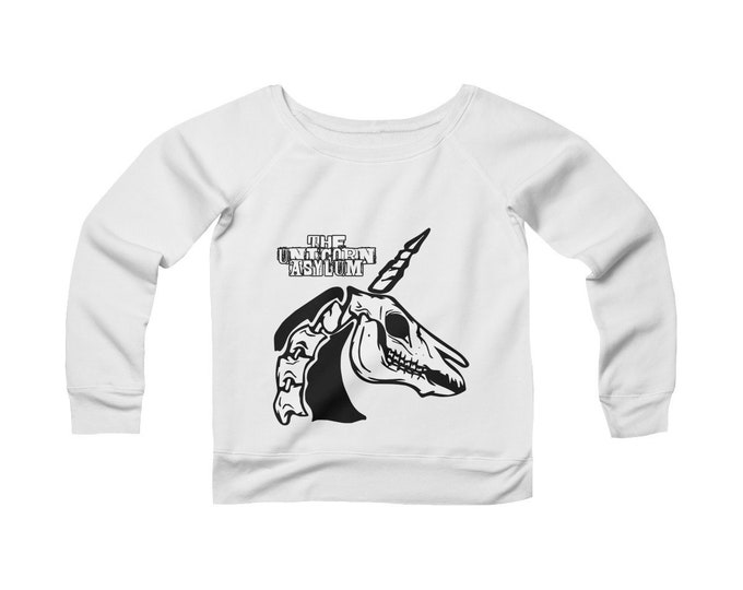 Unicorn Skull - The Unicorn Asylum -Wide Neck -Off The Shoulder- Sweatshirt