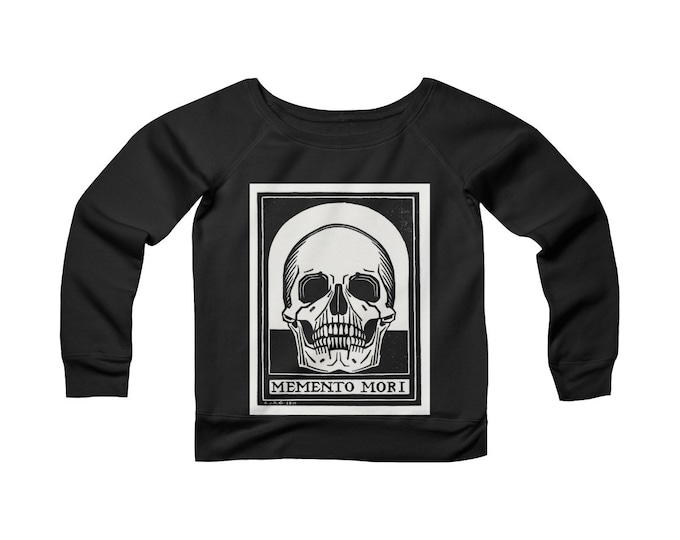 Memento Mori-  Wide Neck Off the Shoulder Sweatshirt