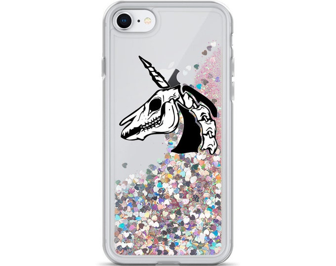 The Unicorn Asylum Emblem Unicorn Skull Liquid Glitter iPhone Cases  ( Choice of Pink, Silver or Gold Glitter )