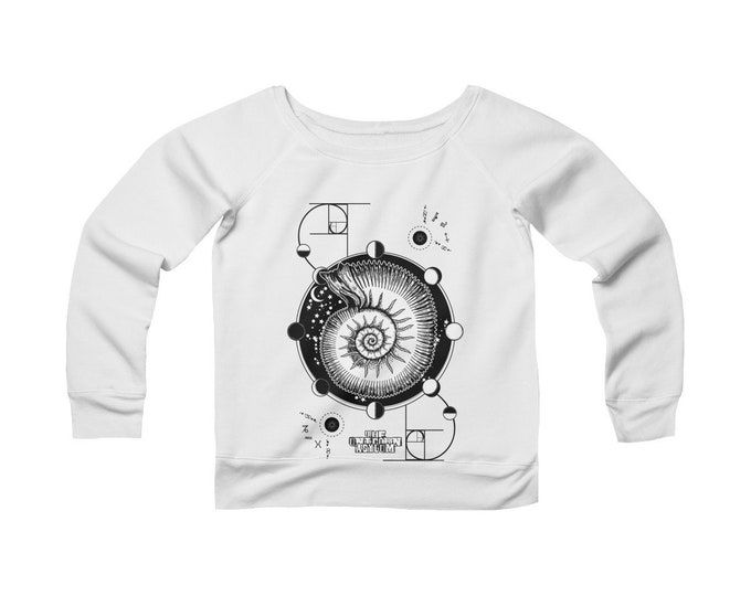Fibonacci -Golden Ratio -Nautilus- Sacred Geometry Wide Neck Off The Shoulder Sweatshirt