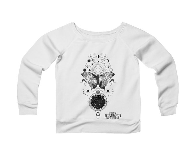 Metamorphosis Sacred Geometry- Wide Neck Off The Shoulder Sweatshirt